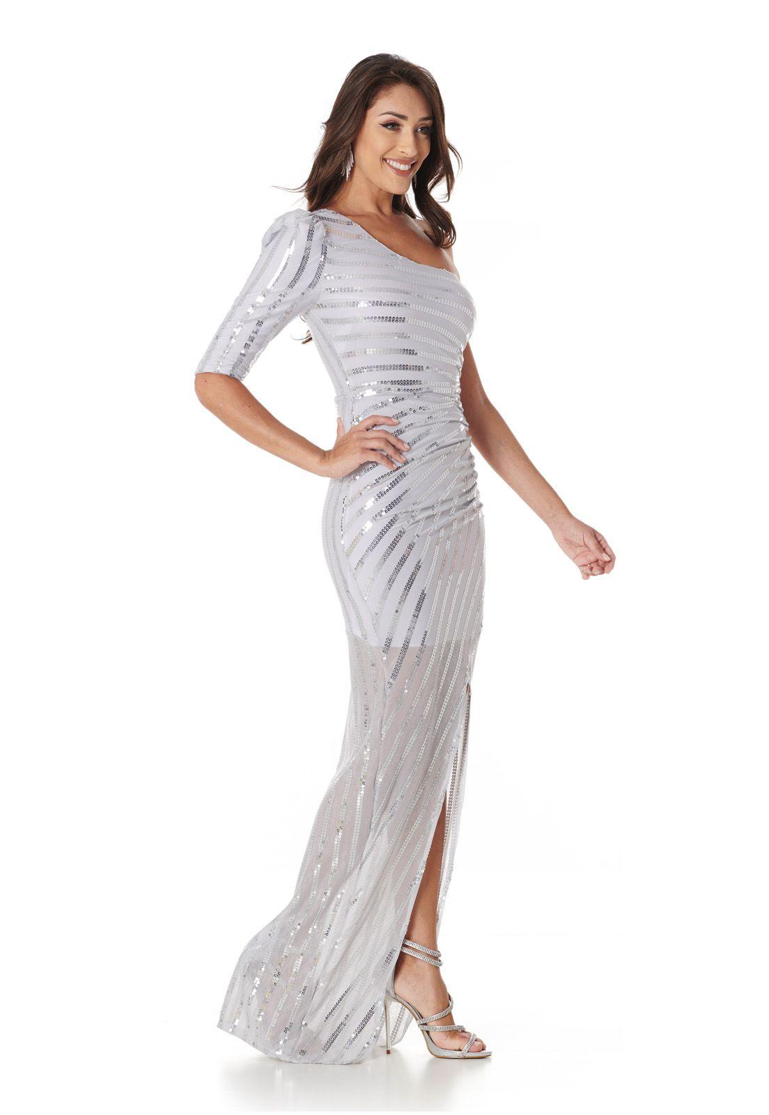 Vestido Longo Listras Paetê Cinza Lala Dubi