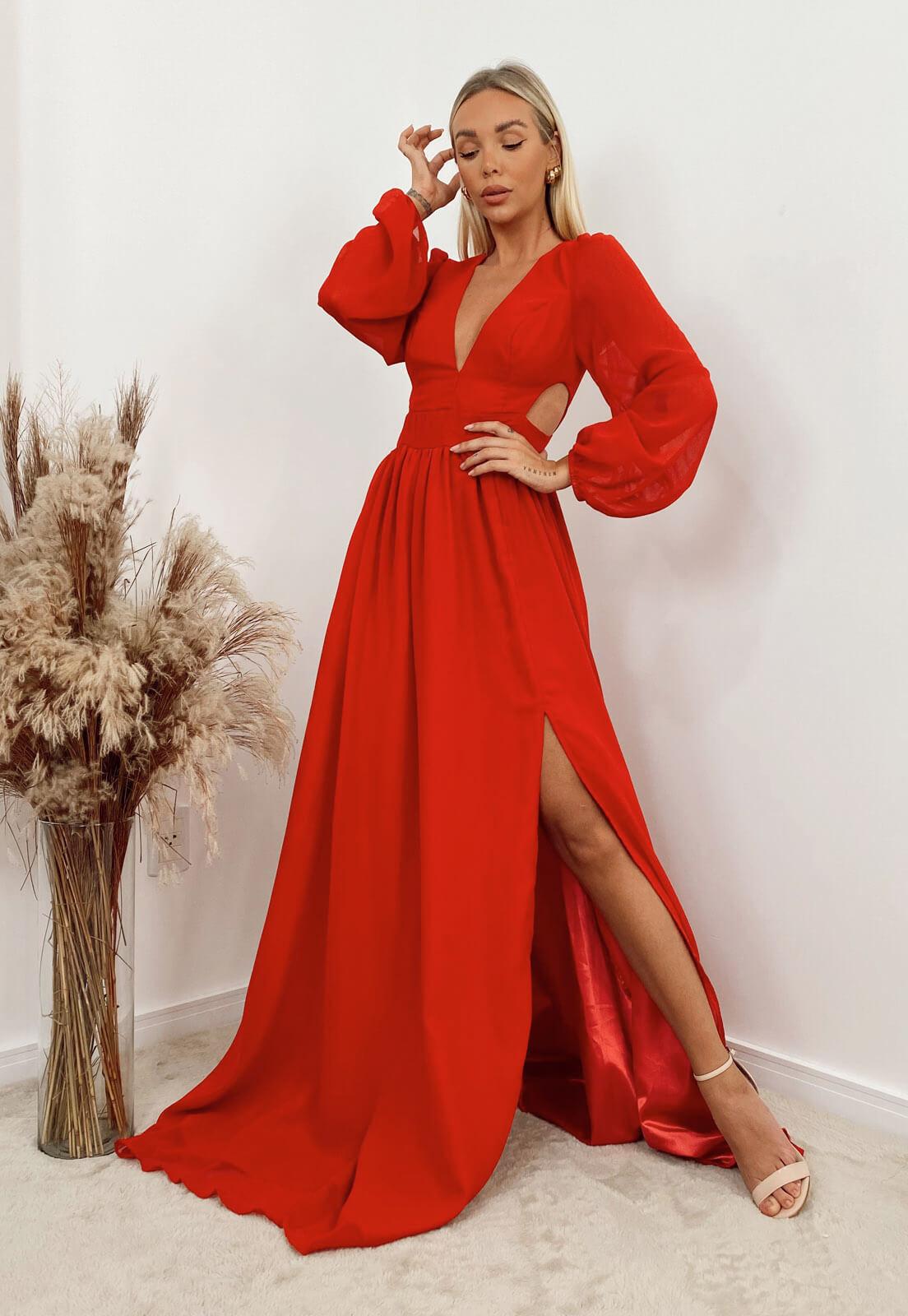 Vestido Longo Manga Longa Vermelho