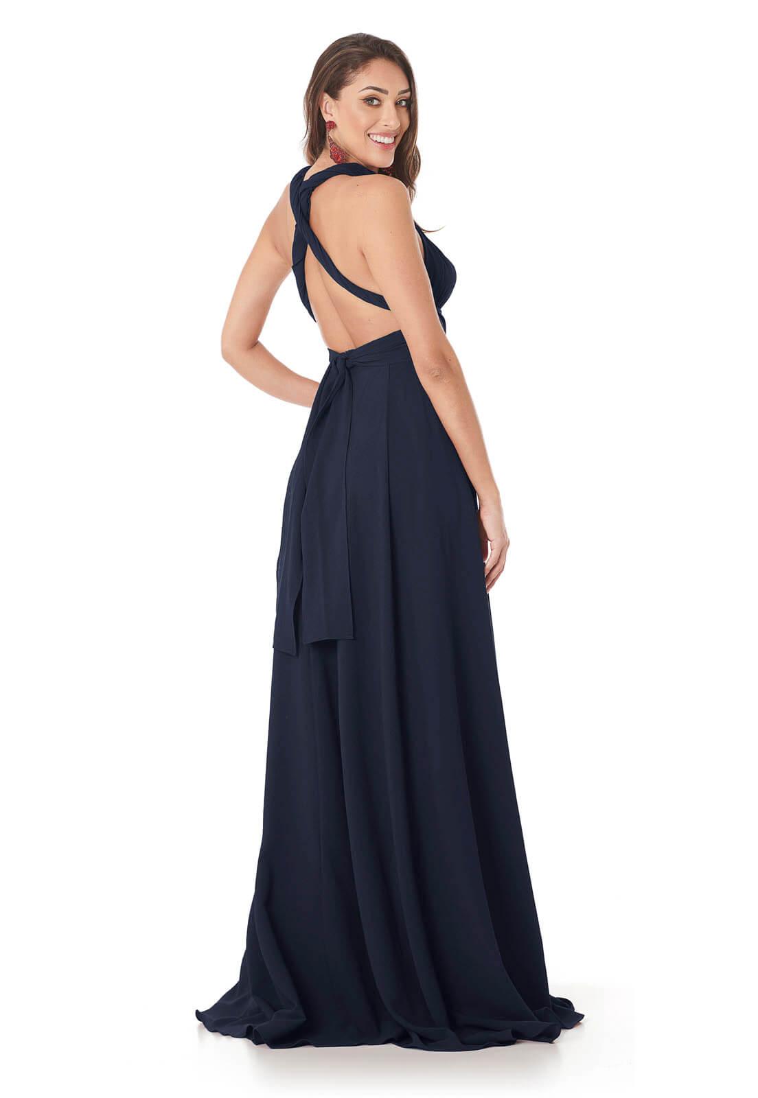 Vestido Longo Mil Formas Azul Marinho Lala Dubi