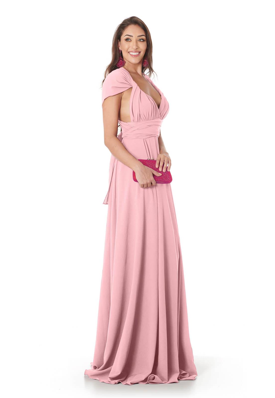 Vestido Longo Mil Formas Rosa Claro Lala Dubi