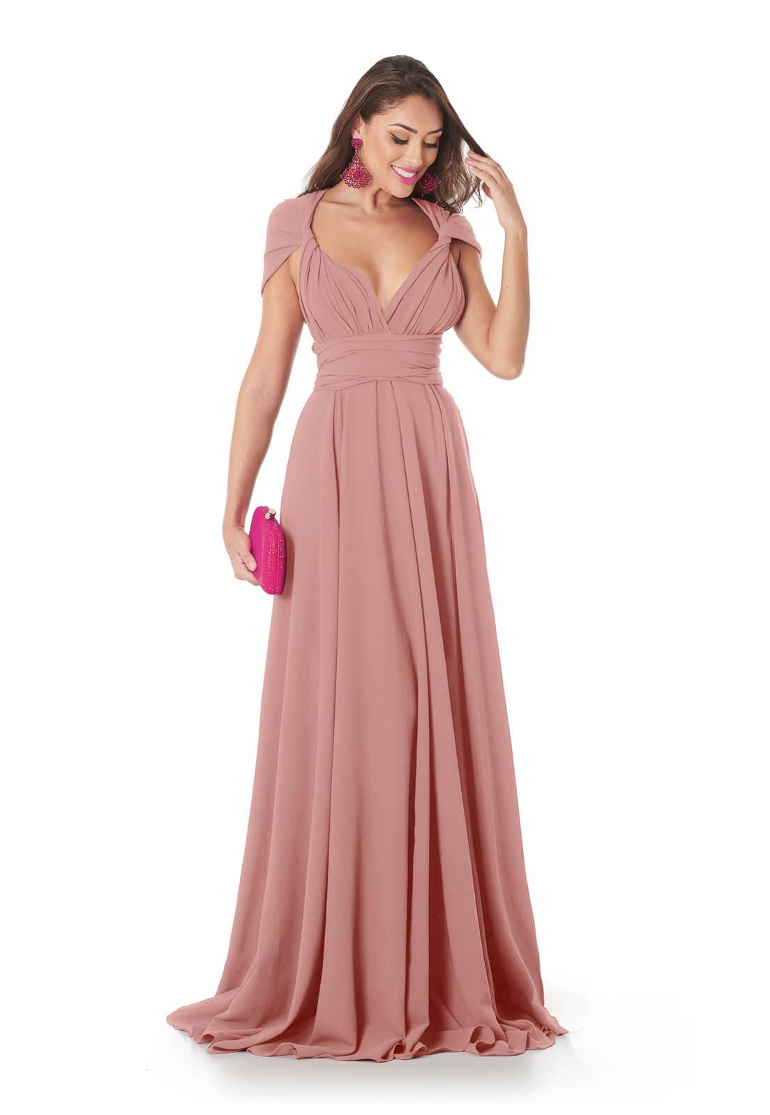 Vestido Longo Mil Formas Rosa Peach Lala Dubi