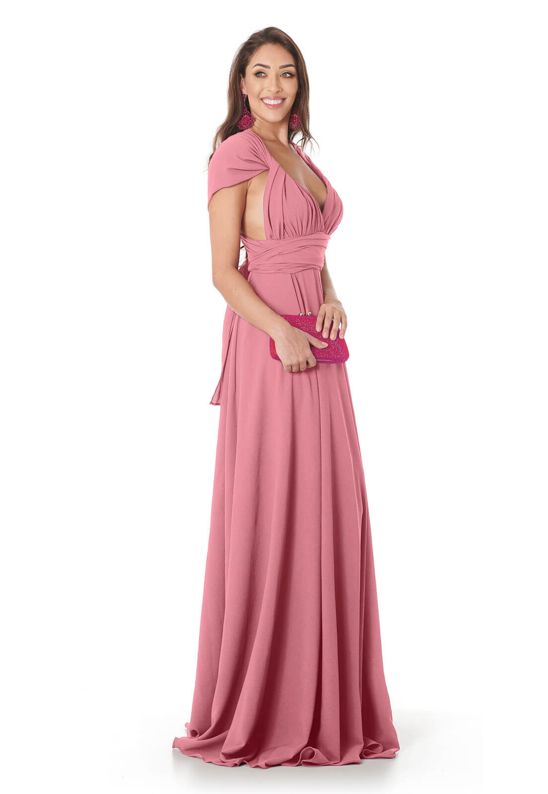Vestido Longo Mil Formas Rosa Velho Lala Dubi