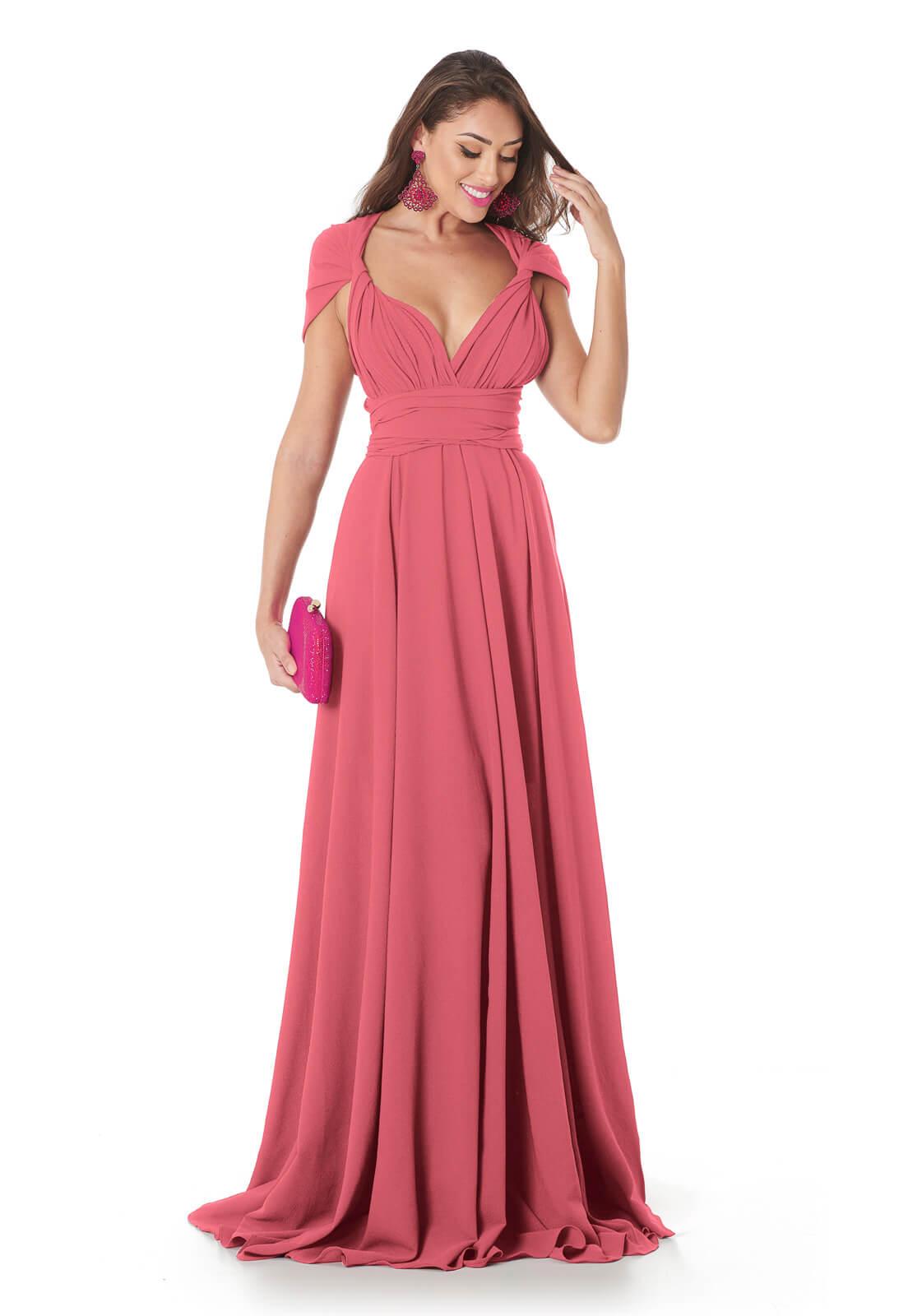 Vestido Longo Mil Formas Rosê Blush Lala Dubi