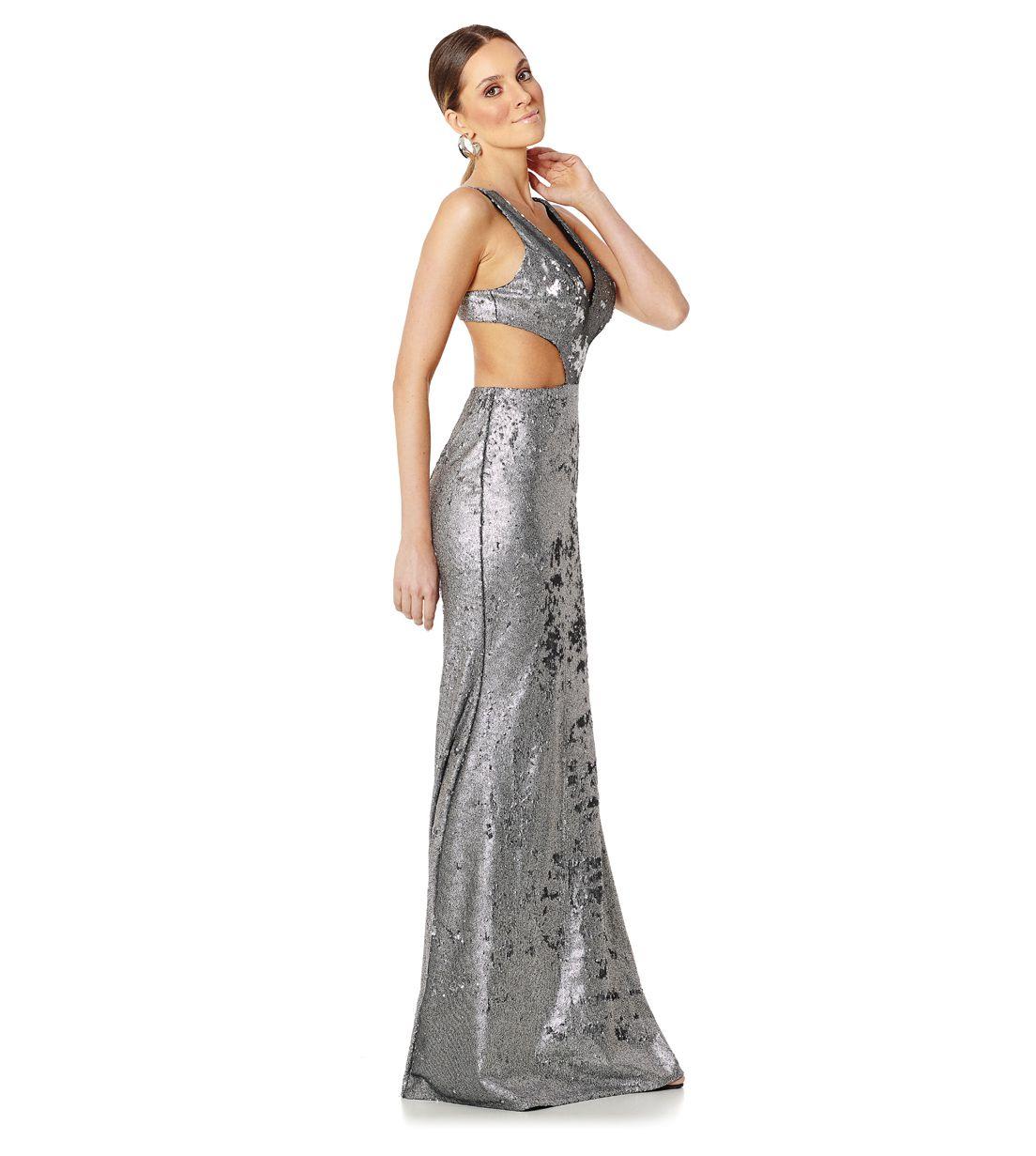 Vestido Longo Paetê Double Side Prata Lala Dubi
