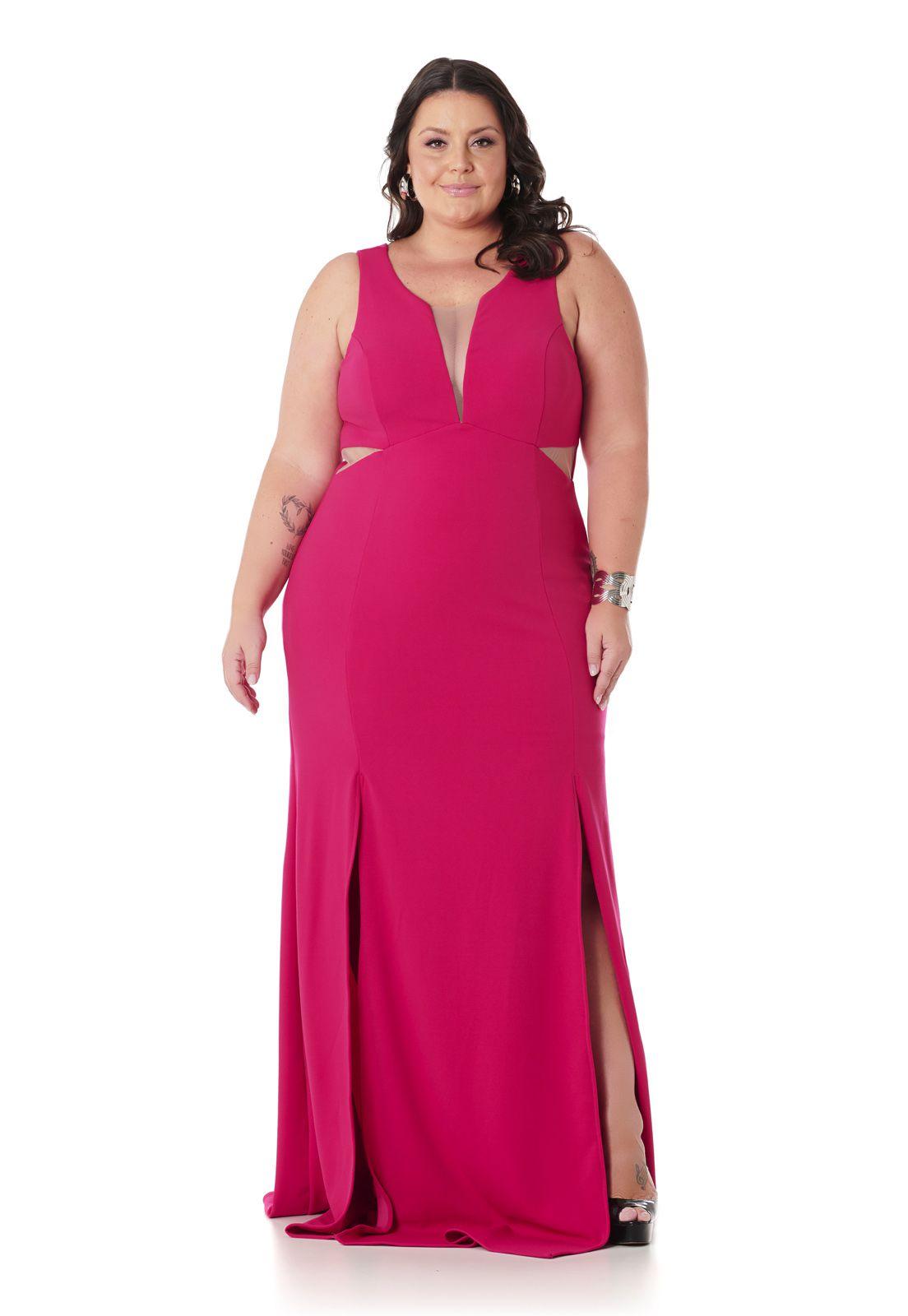 Vestido Longo Sereia Plus Size Com Fendas Pink Lala Dubi