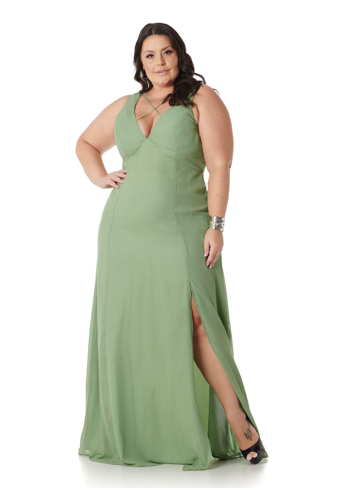 Vestido Longo Plus Size Verde Claro Lala Dubi