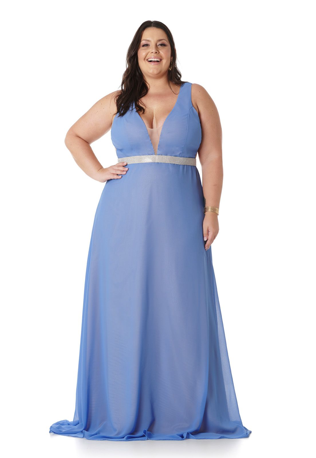 Vestido Longo Plus Size Azul Lavanda Lala Dubi