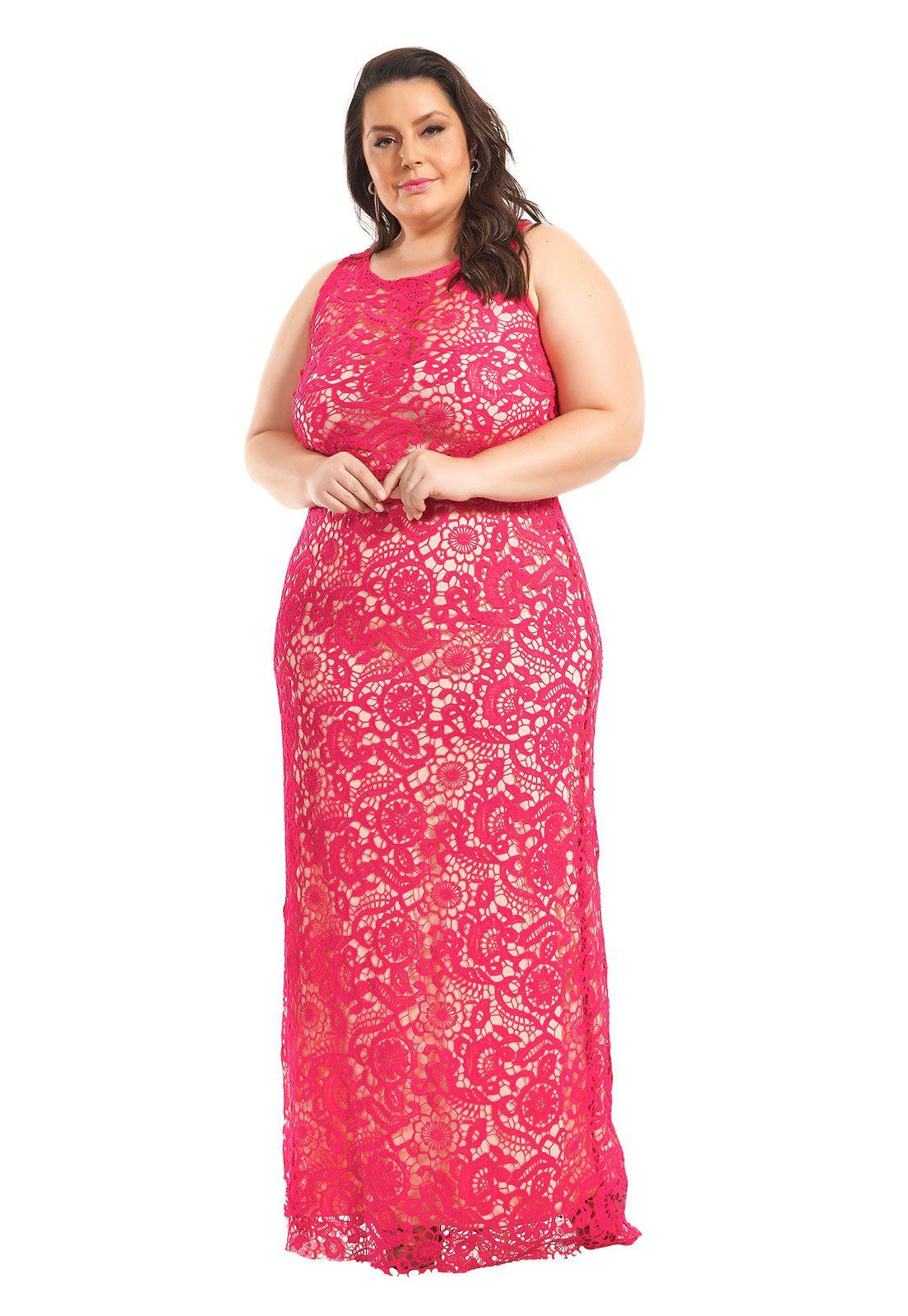 Vestido Longo Plus Size Guipir Pink Lala Dubi