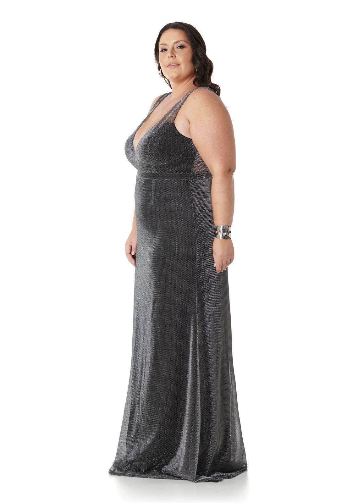 Vestido Longo Plus Size Tule Lurex Prata Lala Dubi