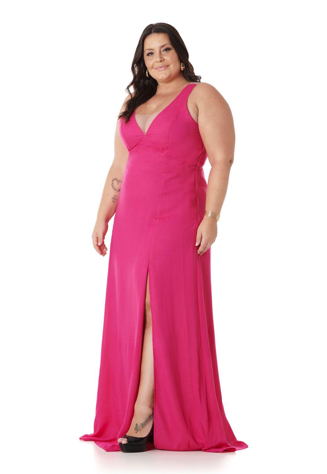 Vestido Longo Plus Size Pink Lala Dubi