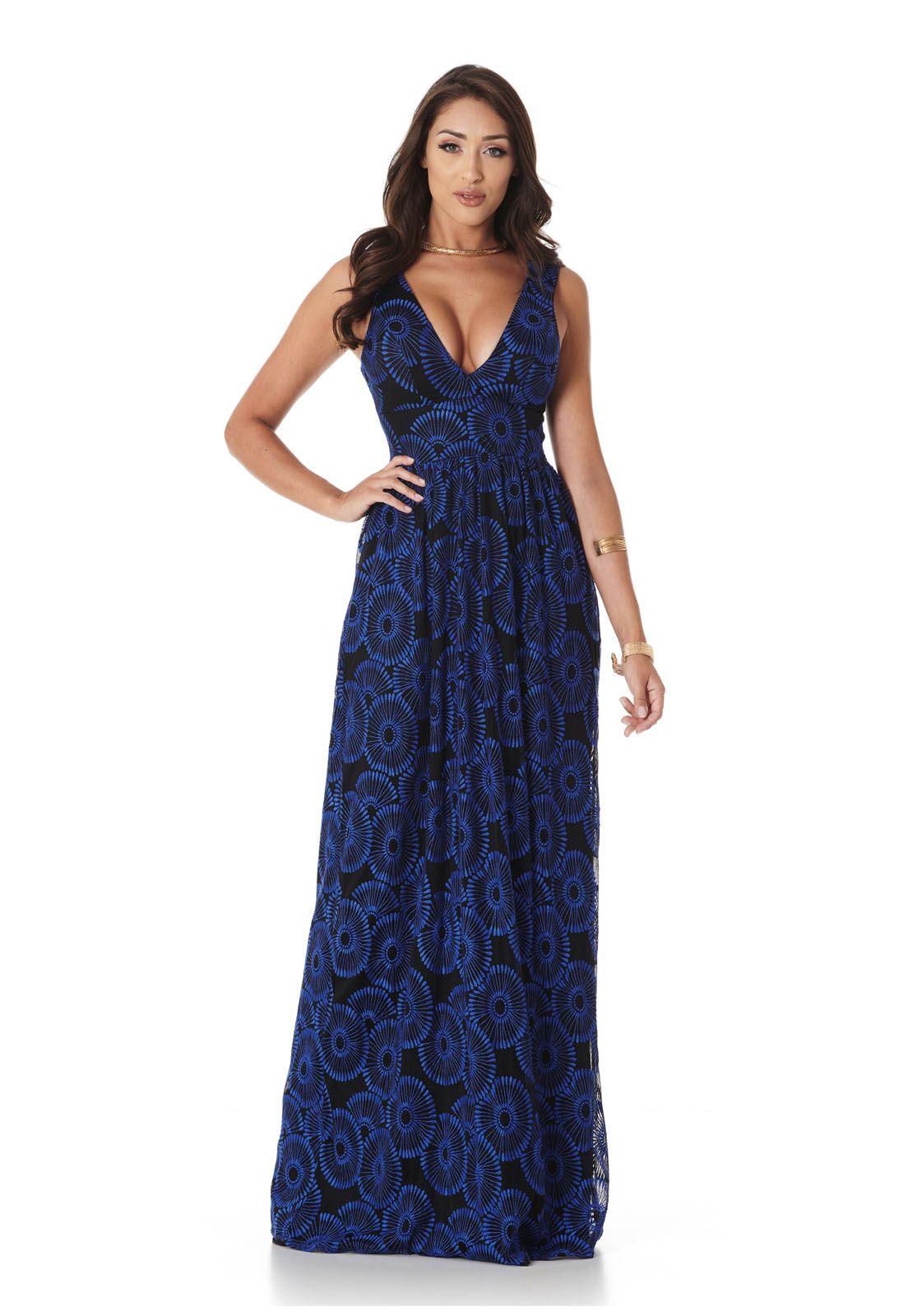 Vestido Longo Renda Nouveau Azul Lala Dubi
