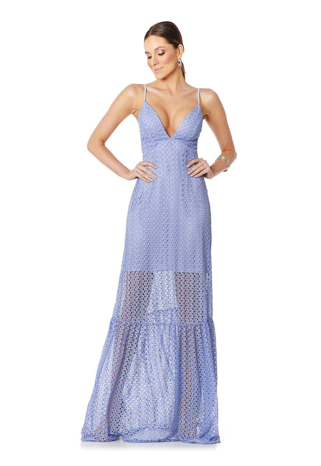 Vestido Longo Renda Azul Serenity Lala Dubi