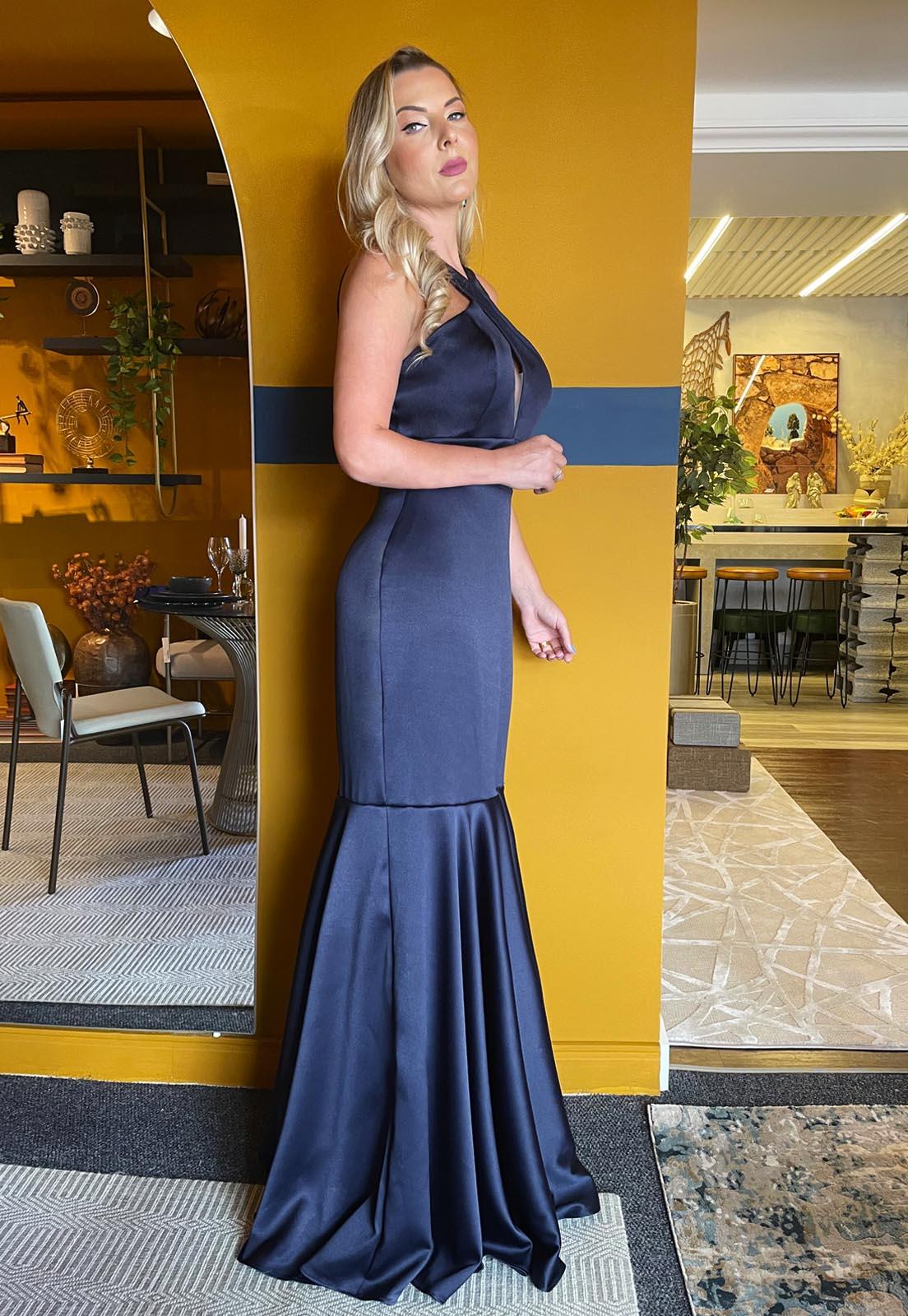 Vestido Longo Sereia com Godê Azul Marinho Lala Dubi