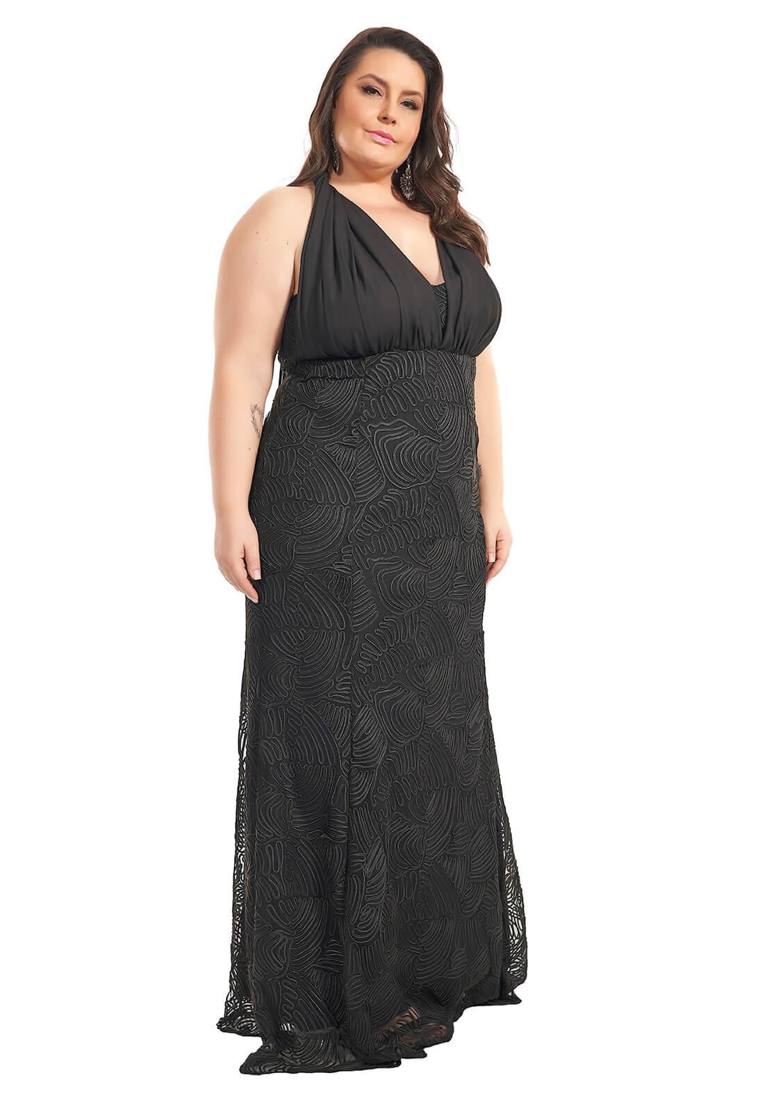 Vestido Longo Sereia Infinity Plus Size Preto Lala Dubi