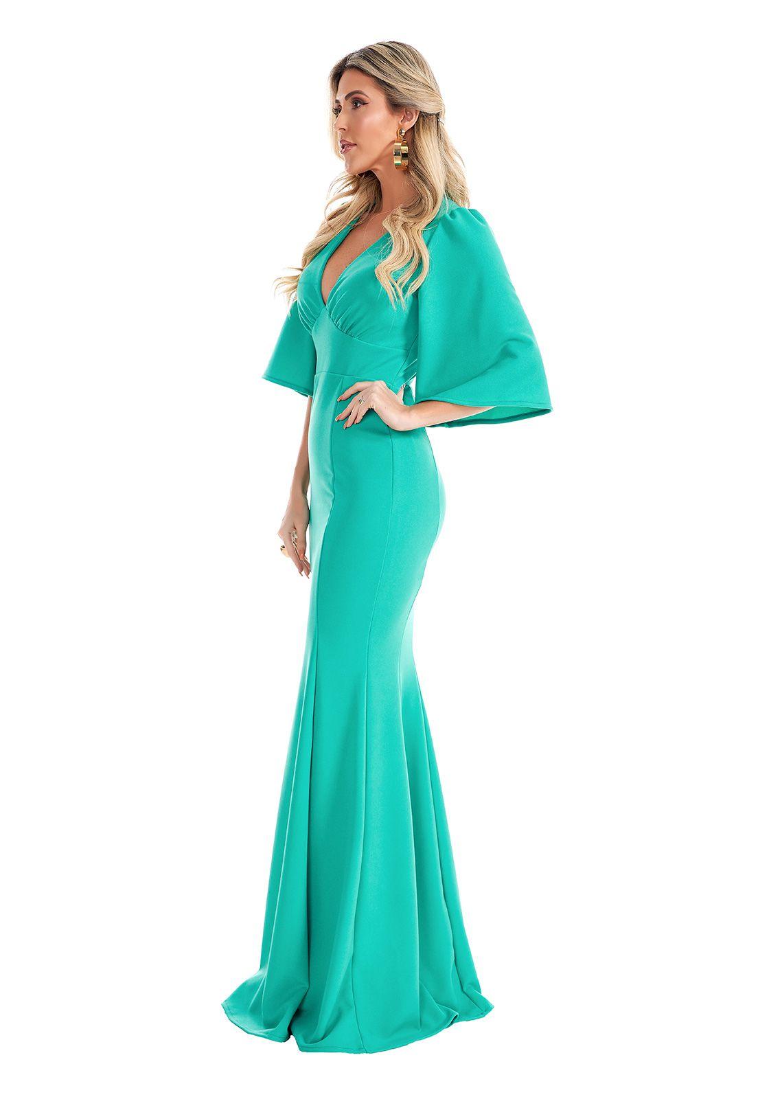 Vestido Longo Sereia Manga Evasê Verde Lala Dubi