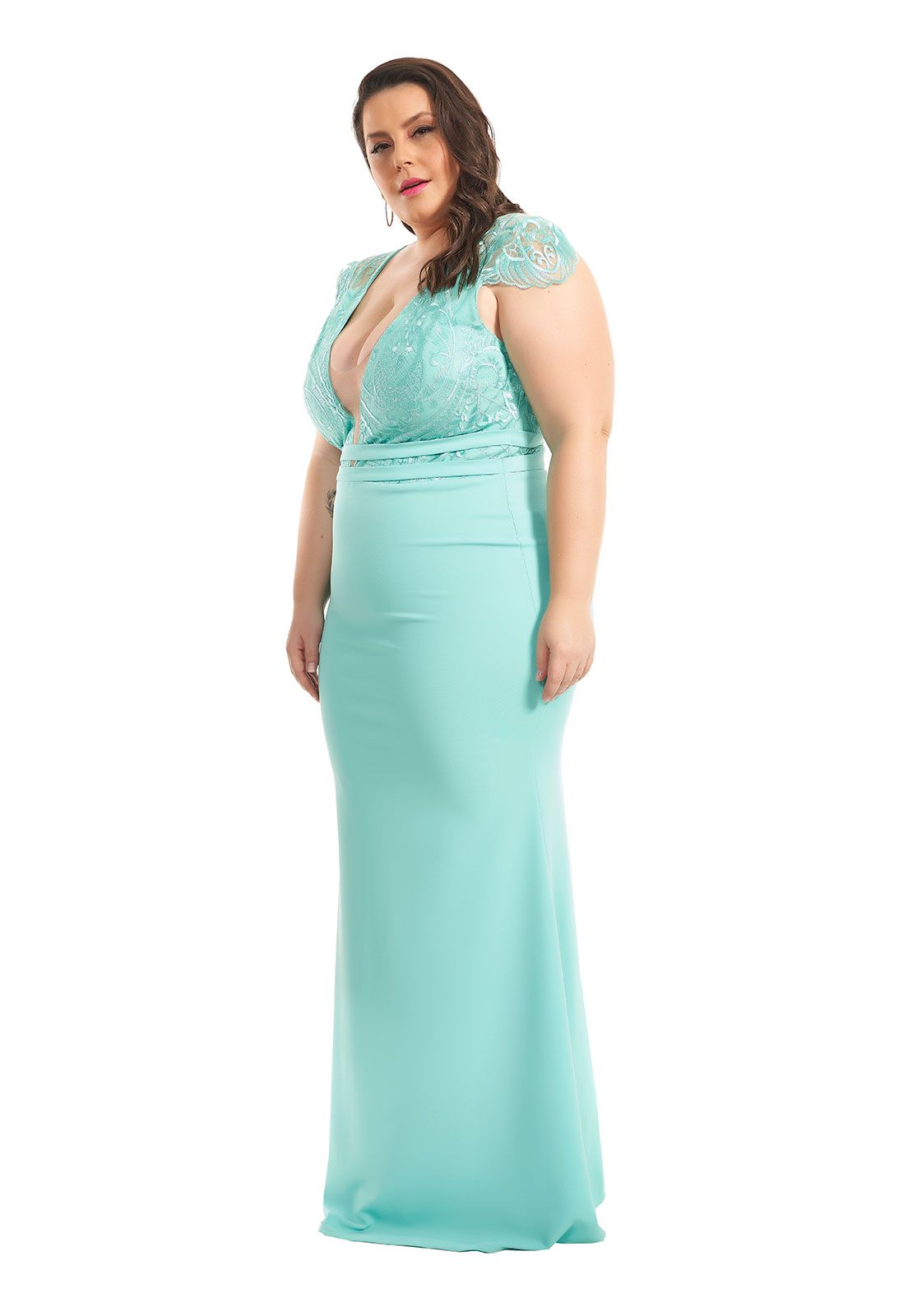 Vestido Longo Sereia Plus Size Azul Tiffany Lala Dubi
