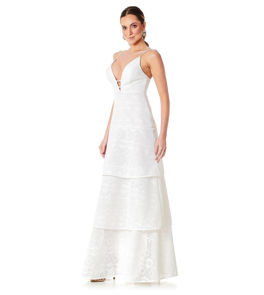 Vestido Longo Camadas Tela Bordada Branco Lala Dubi