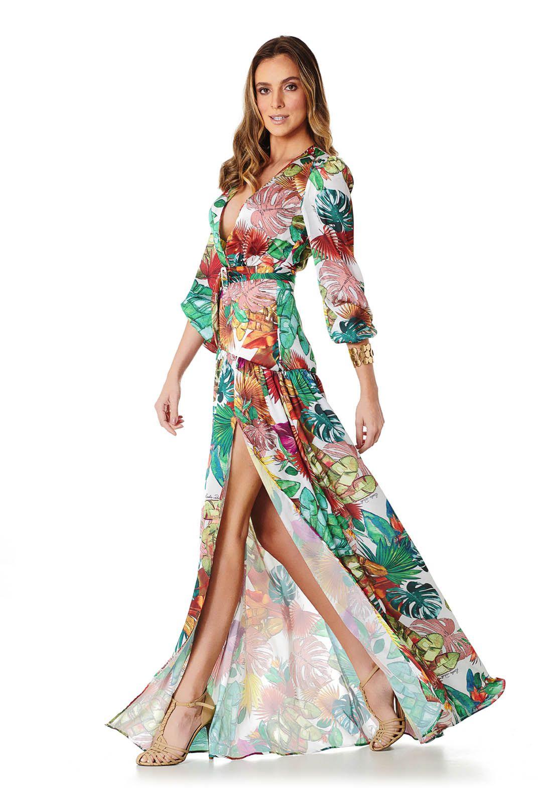 Vestido Longo Tropical Lala Dubi