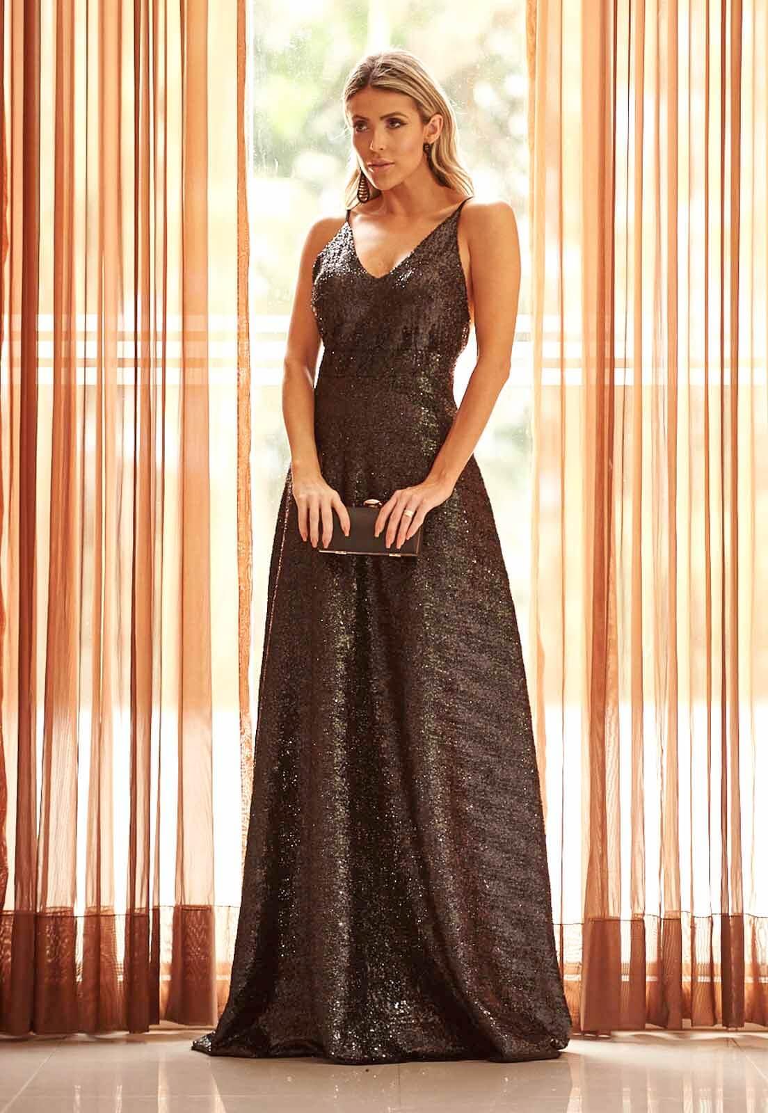 Vestido Lurex com Paetê Preto