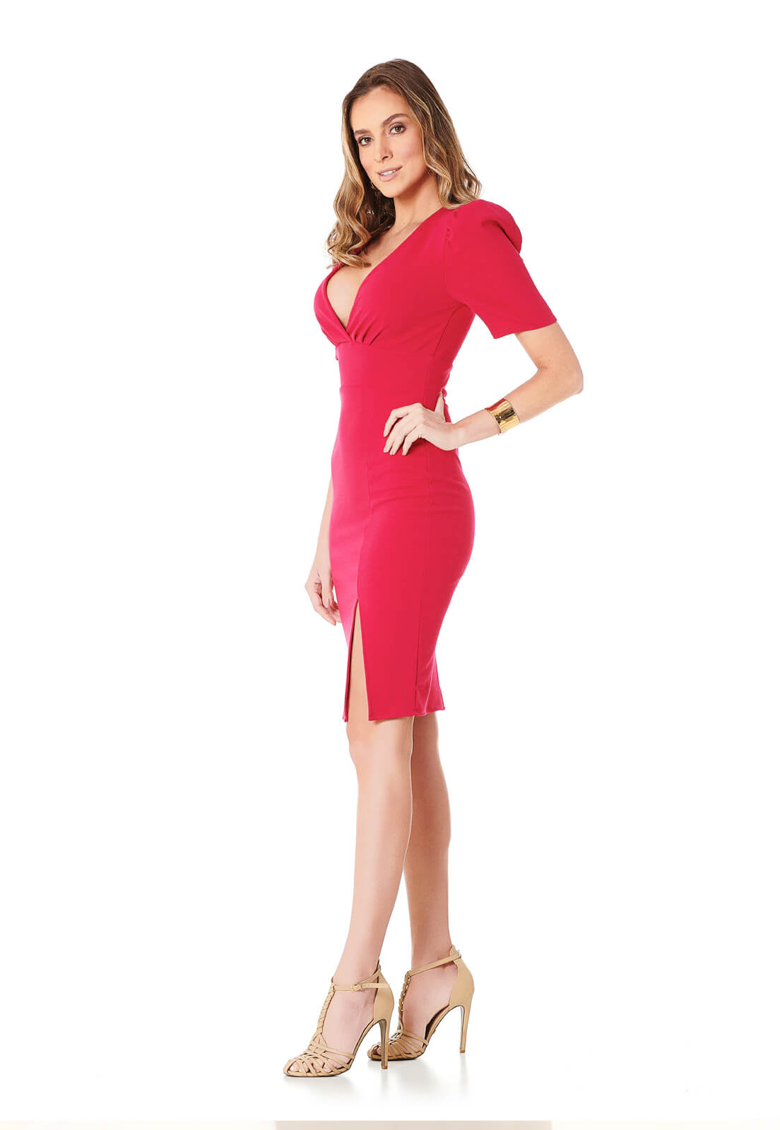 Vestido Manga Curta Bufante Pink