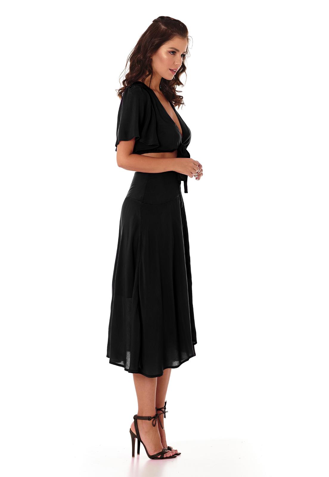 Vestido Midi de Botões Preto Lala Dubi