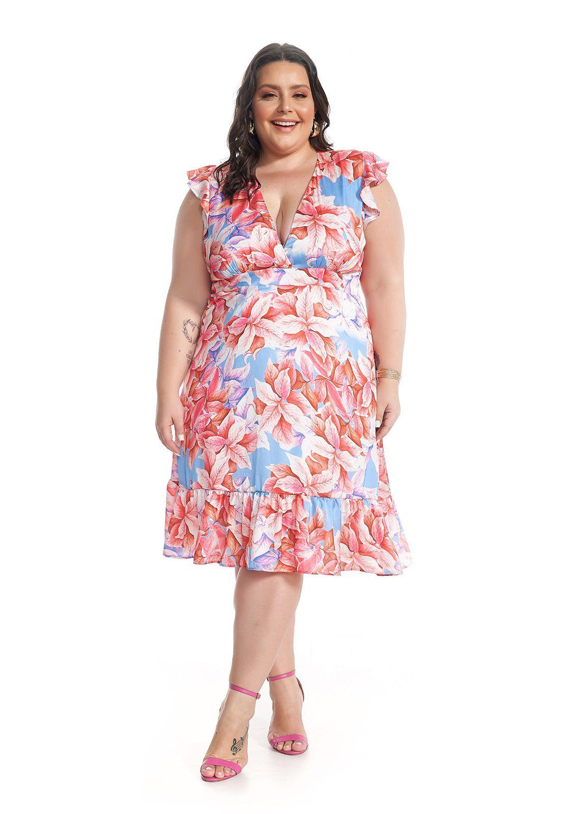 Vestido Midi Plus Size Folhagem Rosa Lala Dubi