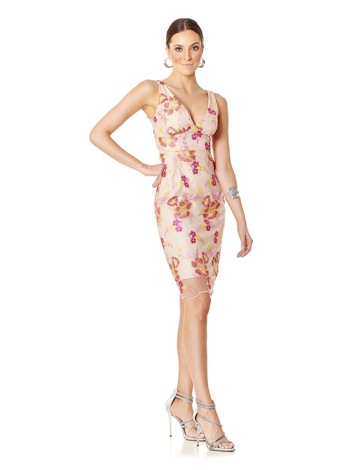 Vestido Midi Flores Rosa e Amarelo Lala Dubi