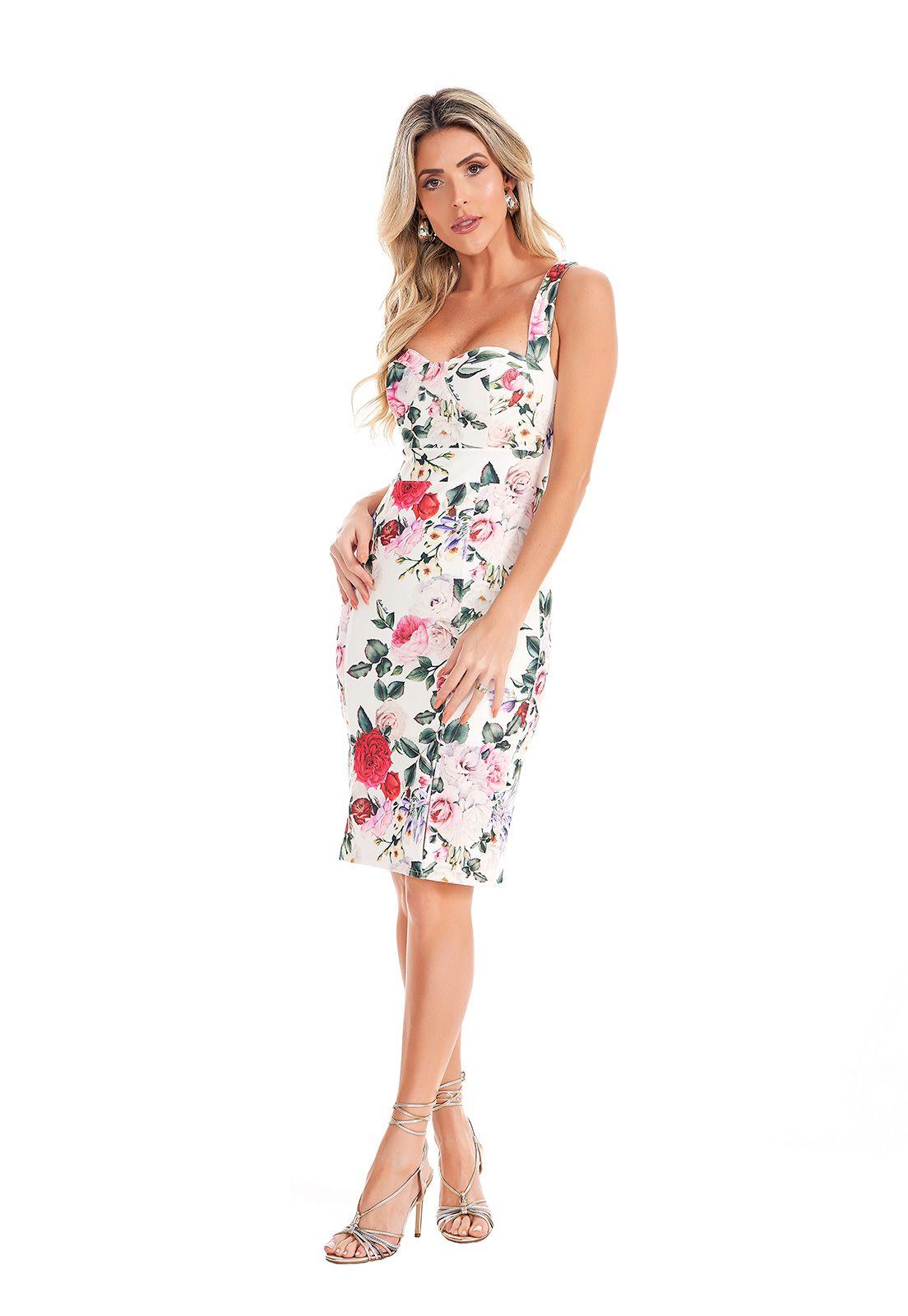 Vestido Midi Floral Com Fenda Lala Dubi
