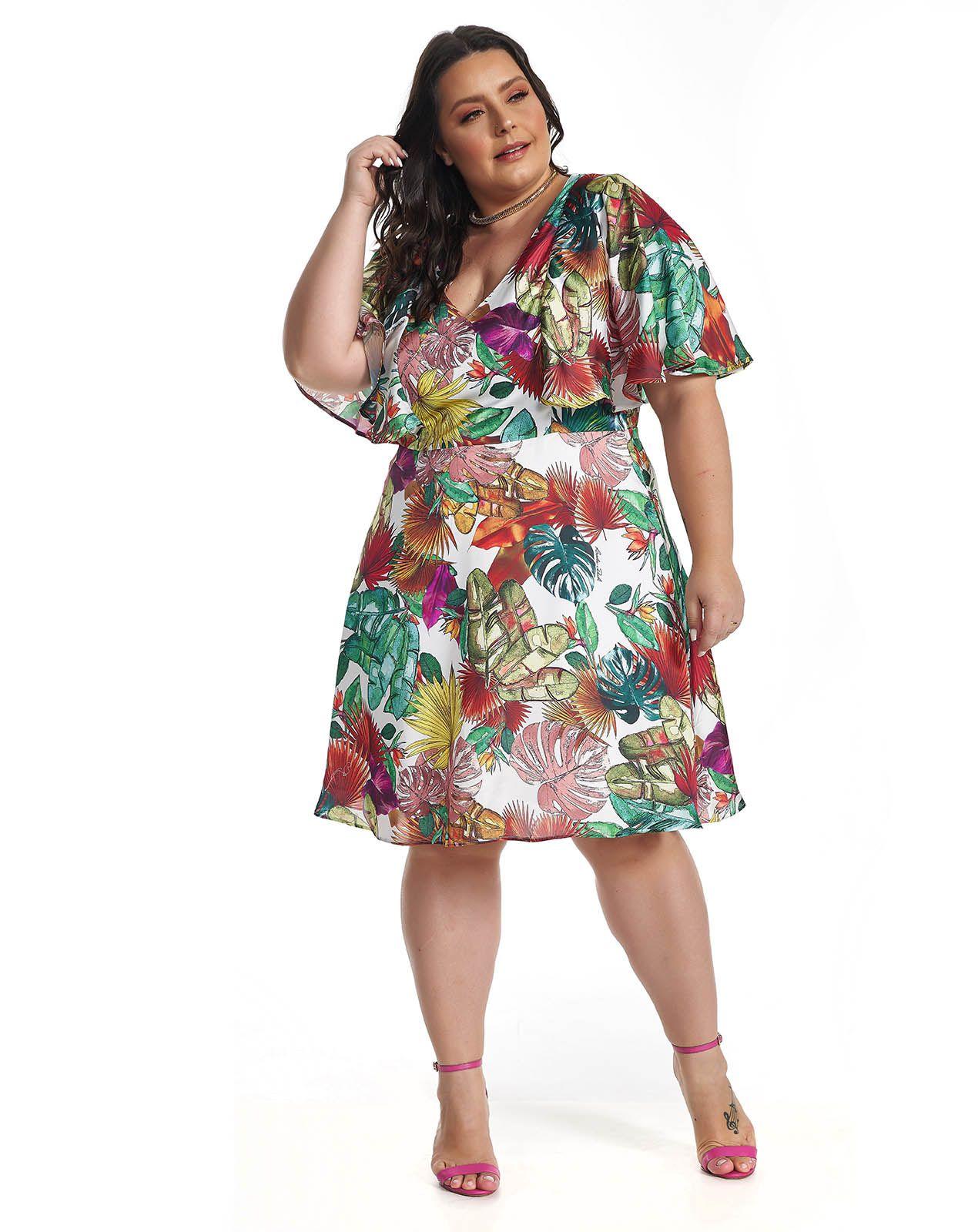Vestido Midi Plus Size Tropical Lala Dubi
