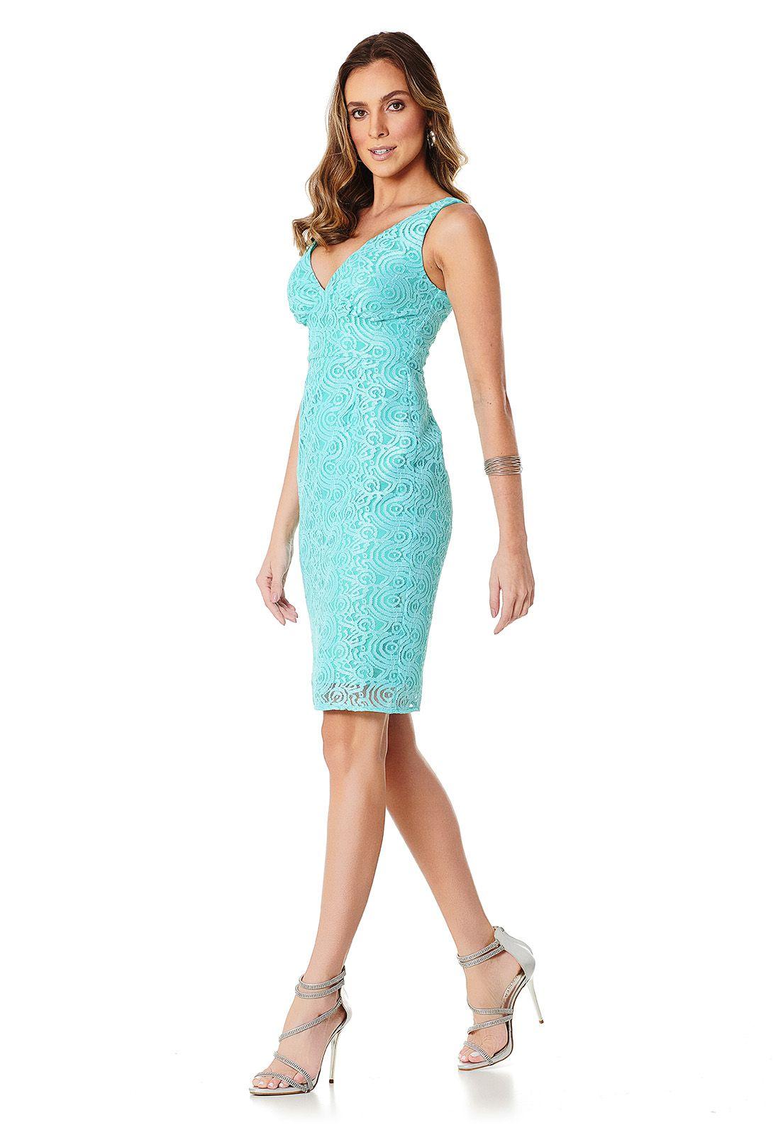 Vestido Midi Renda Ondas Azul Tiffany Lala Dubi