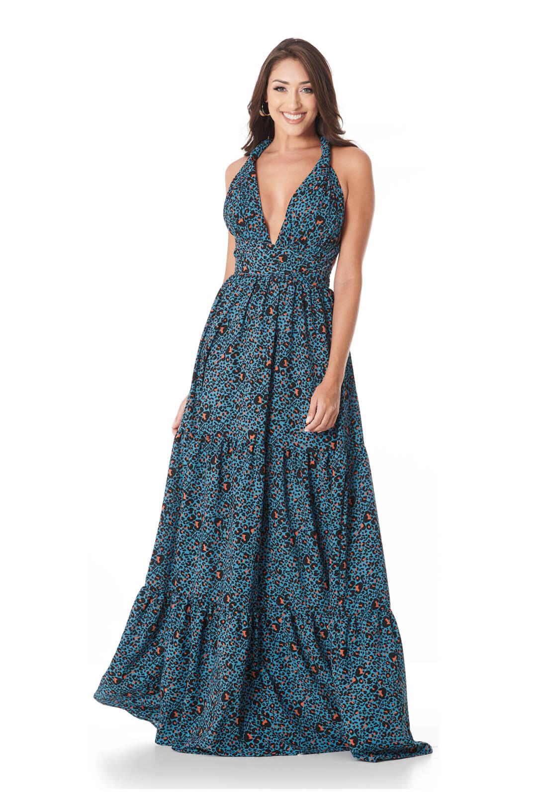 Vestido Longo Mil Formas Camadas Onça Azul E Laranja