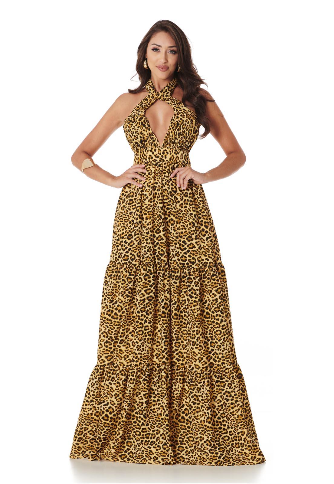Vestido Longo Mil Formas Camadas Onça Dourada