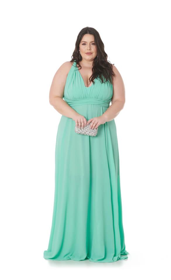 Vestido MIl Formas Plus Size Verde Claro