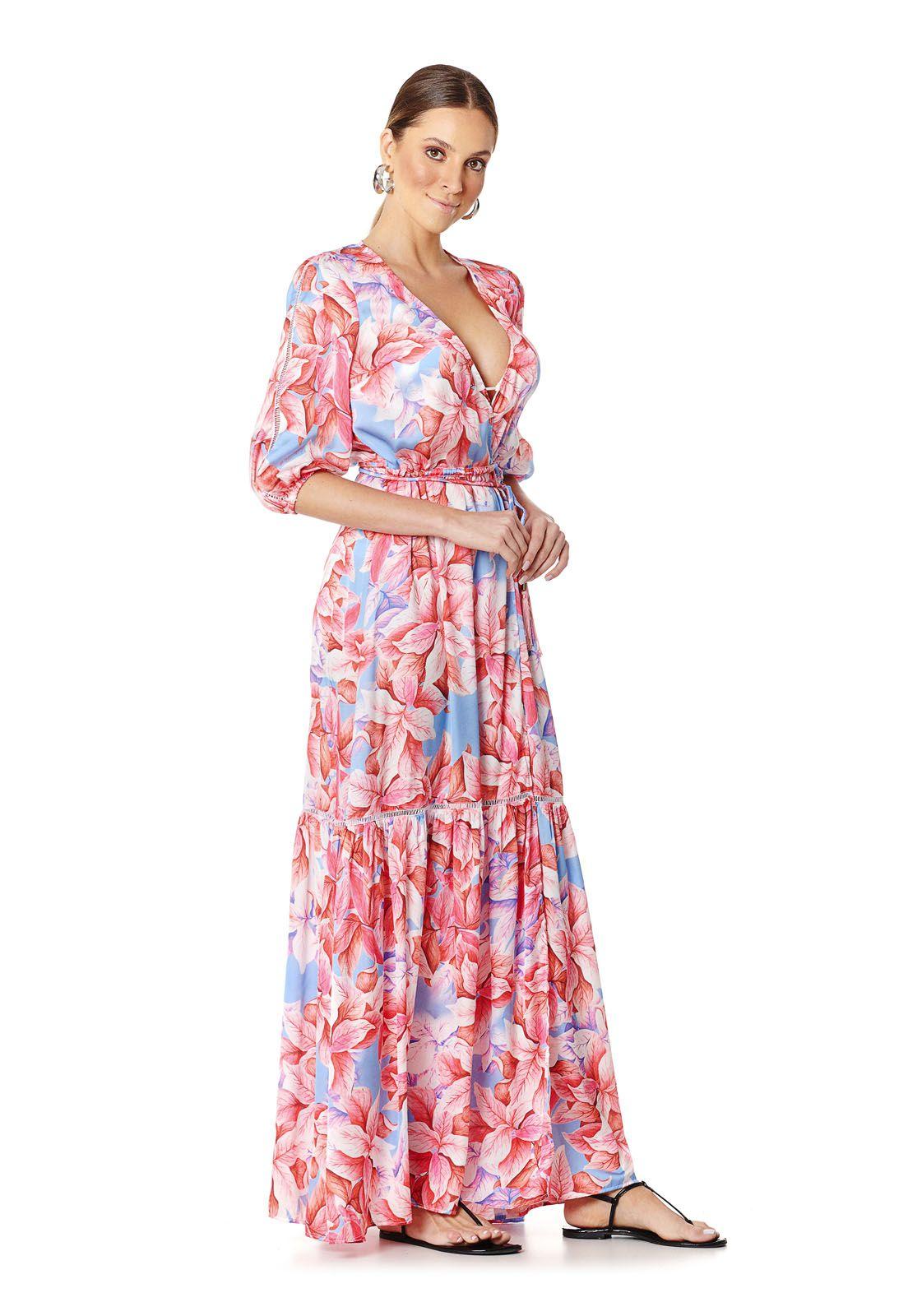 Vestido Pareô Resort Folhagens Rosa Lala Dubi