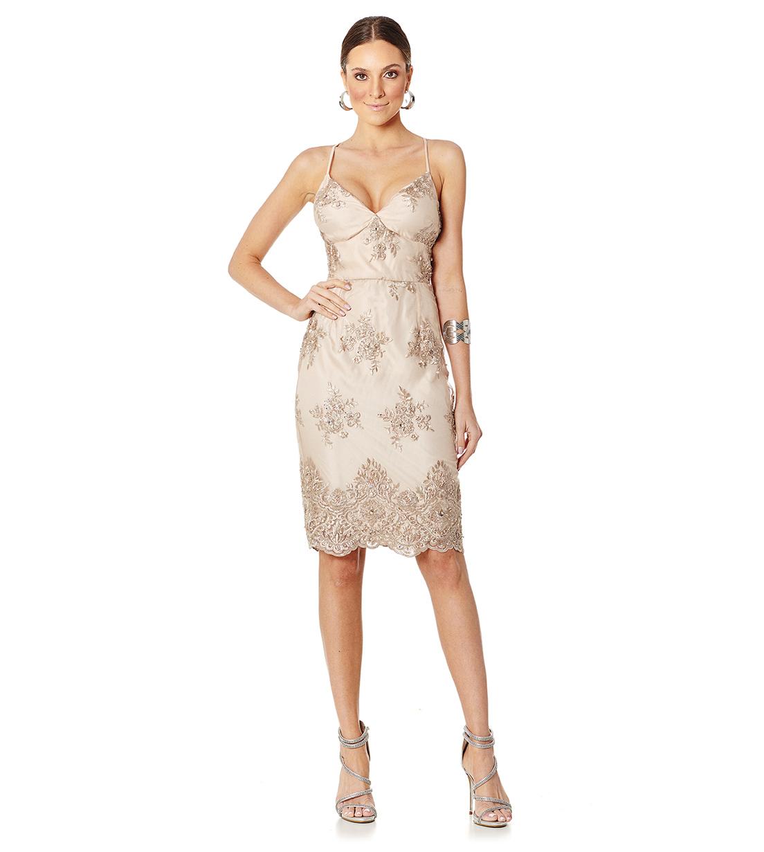 Vestido Pedraria Champagne