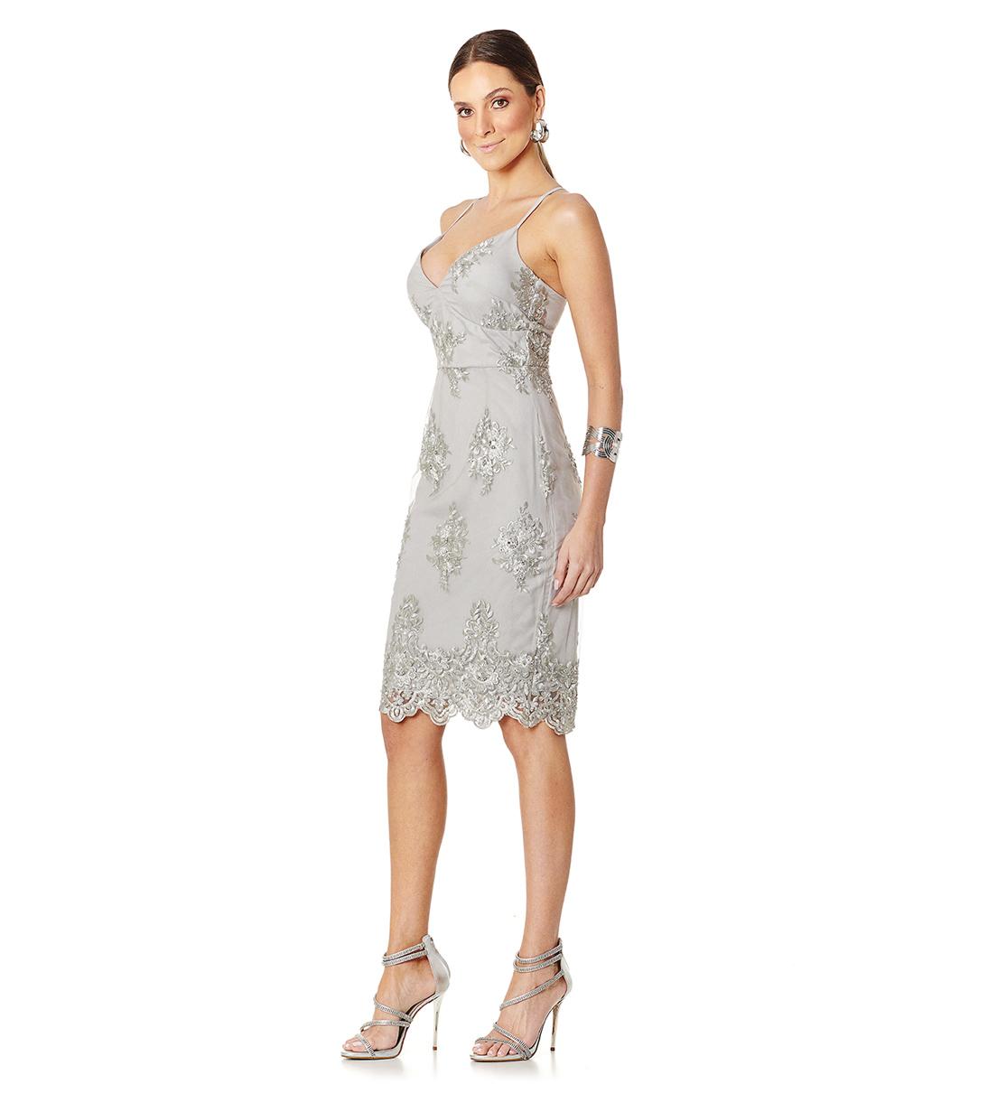 Vestido Pedraria Prata