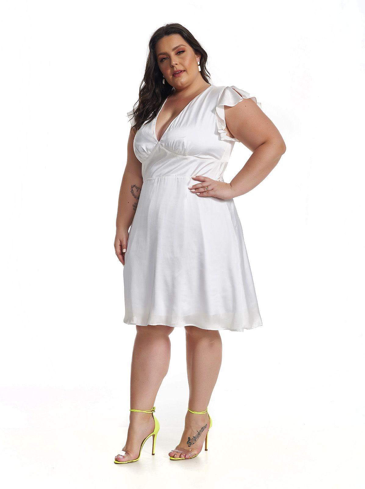 Vestido Midi Plus Size Branco Lala Dubi