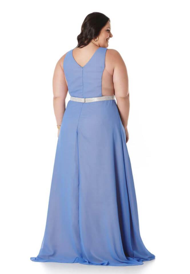 Vestido Plus Size Azul Lavanda