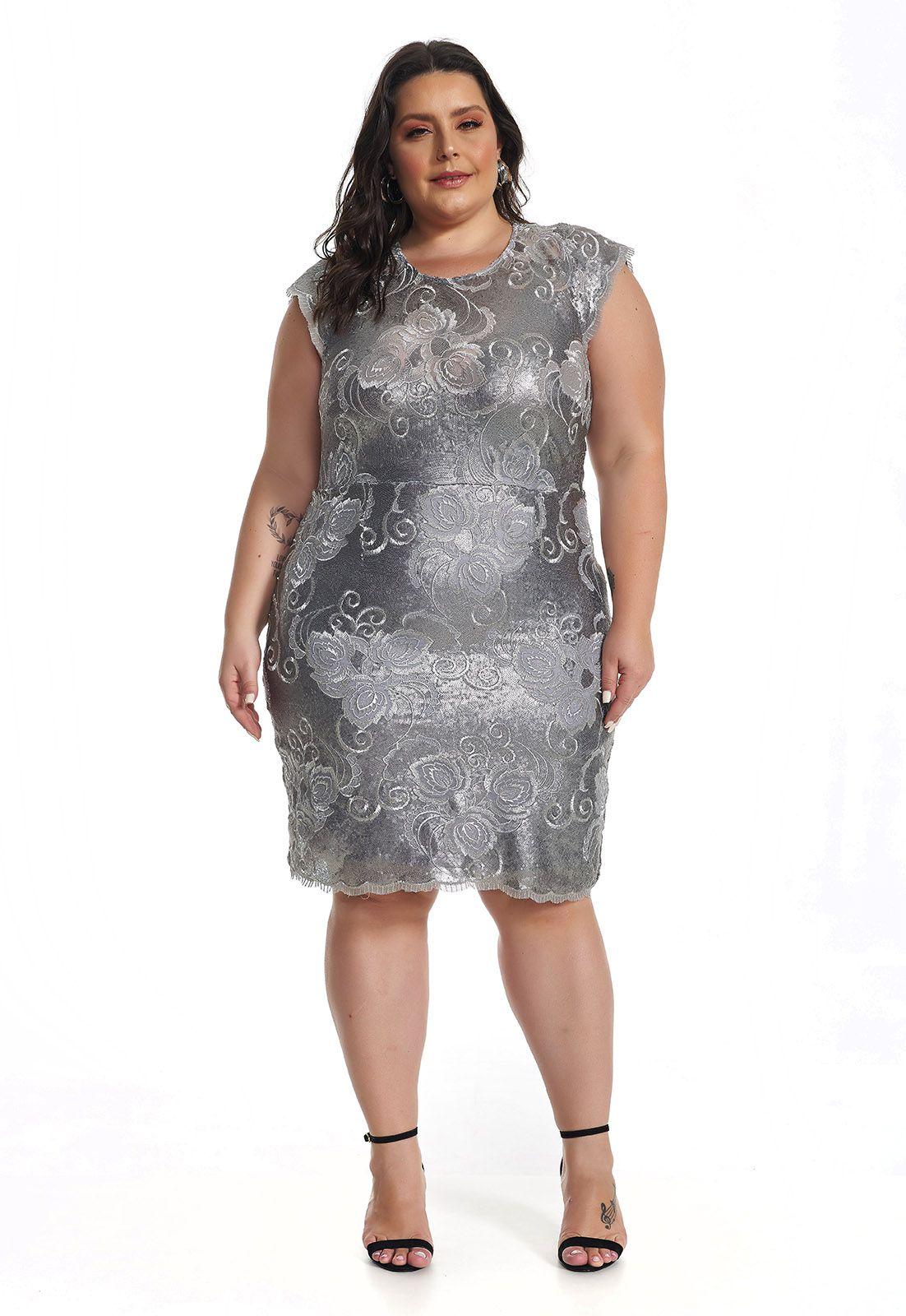 Vestido Curto Plus Size Paetê Prata Lala Dubi