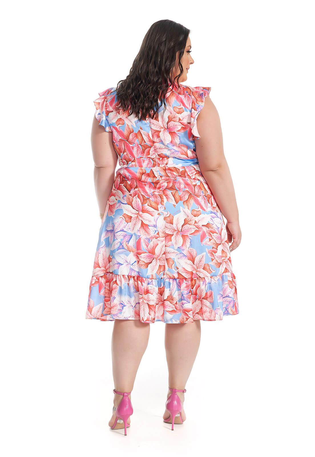 Vestido Plus Size Folhagem Rosa