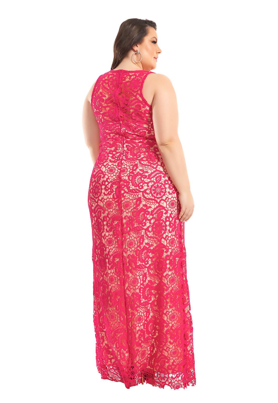 Vestido Plus Size Guipir Pink