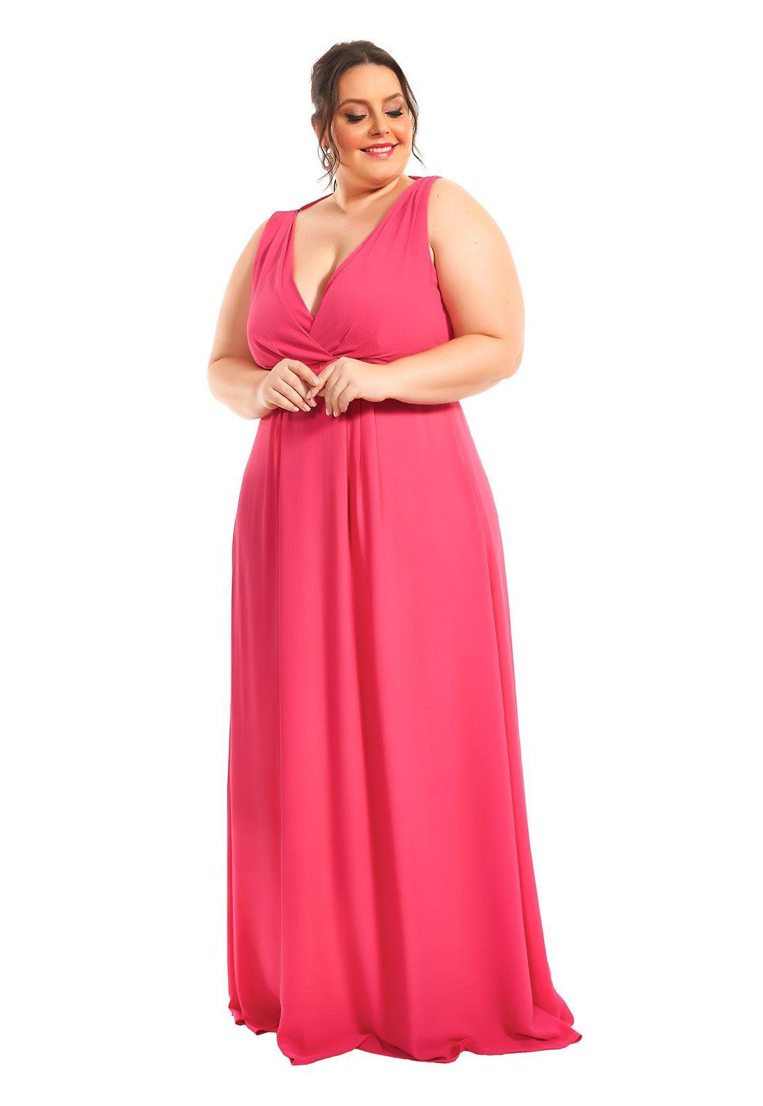 Vestido Longo Plus Size Rosa Cupido Lala Dubi