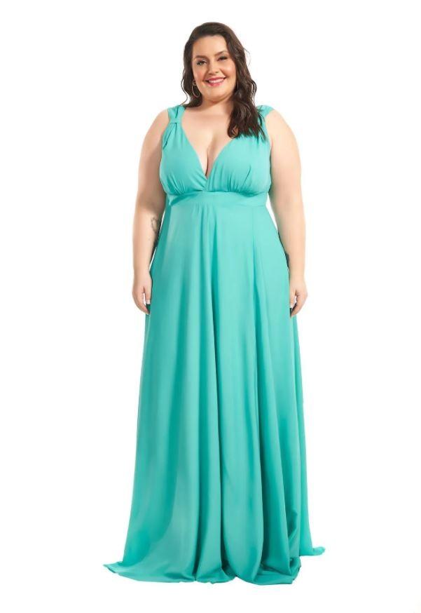 Vestido Longo Plus Size Verde Honolulu Lala Dubi