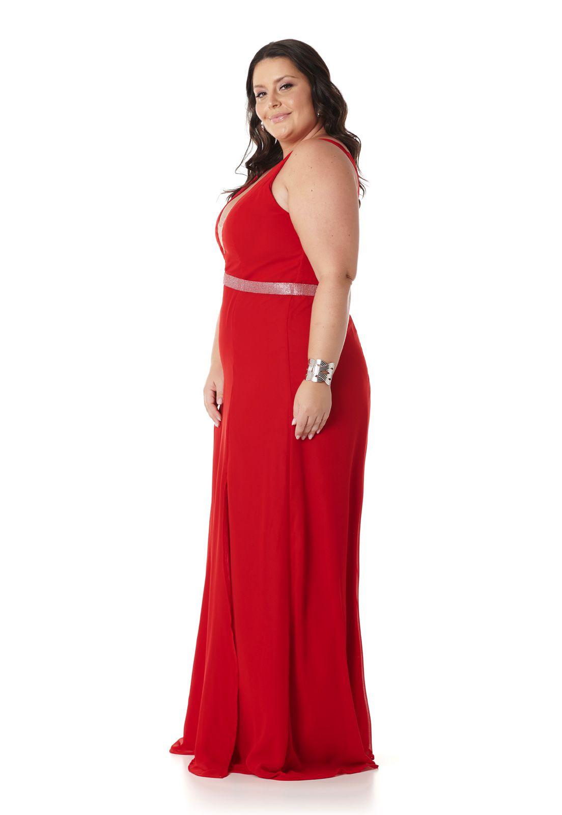Vestido Longo Plus Size Vermelho Lala Dubi