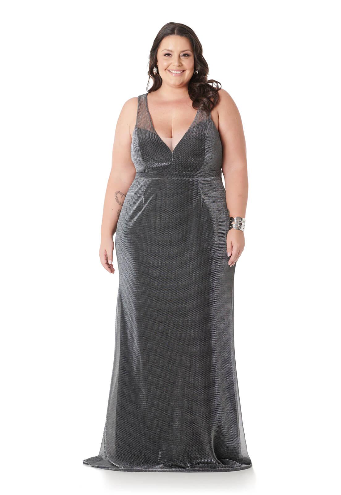 Vestido Plus Size Tule Lurex Prata