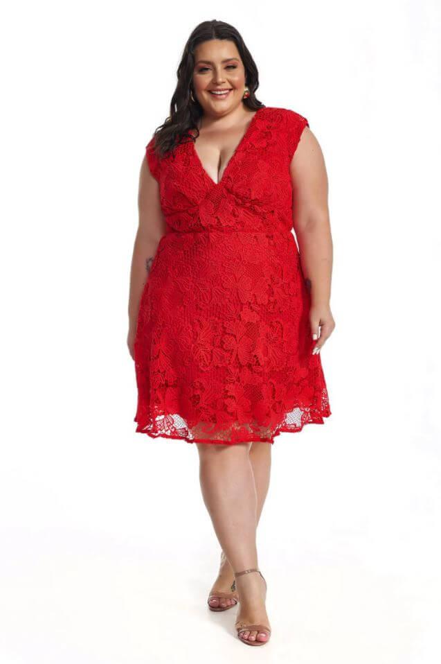Vestido Plus Size Vermelho