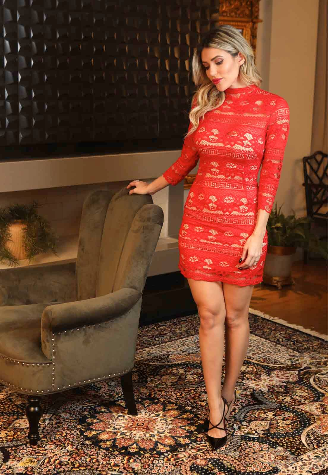 Vestido Renda Bohemia Vermelho