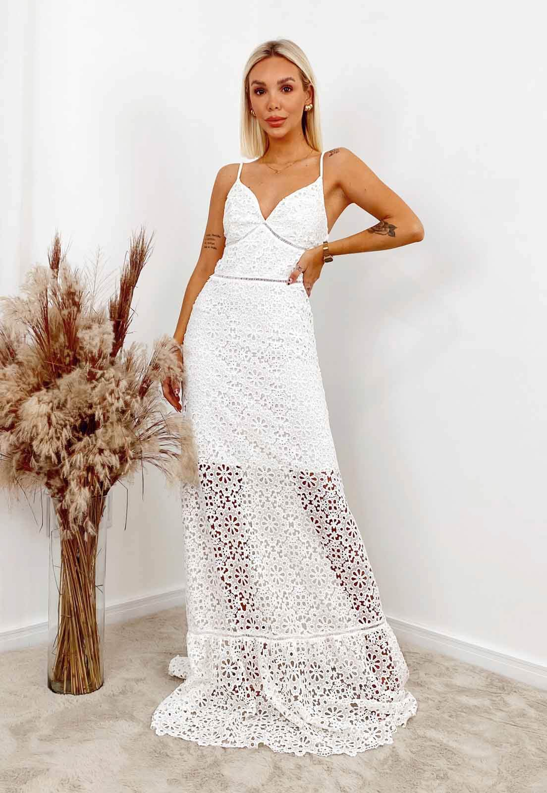 Vestido Renda Guipir Branco