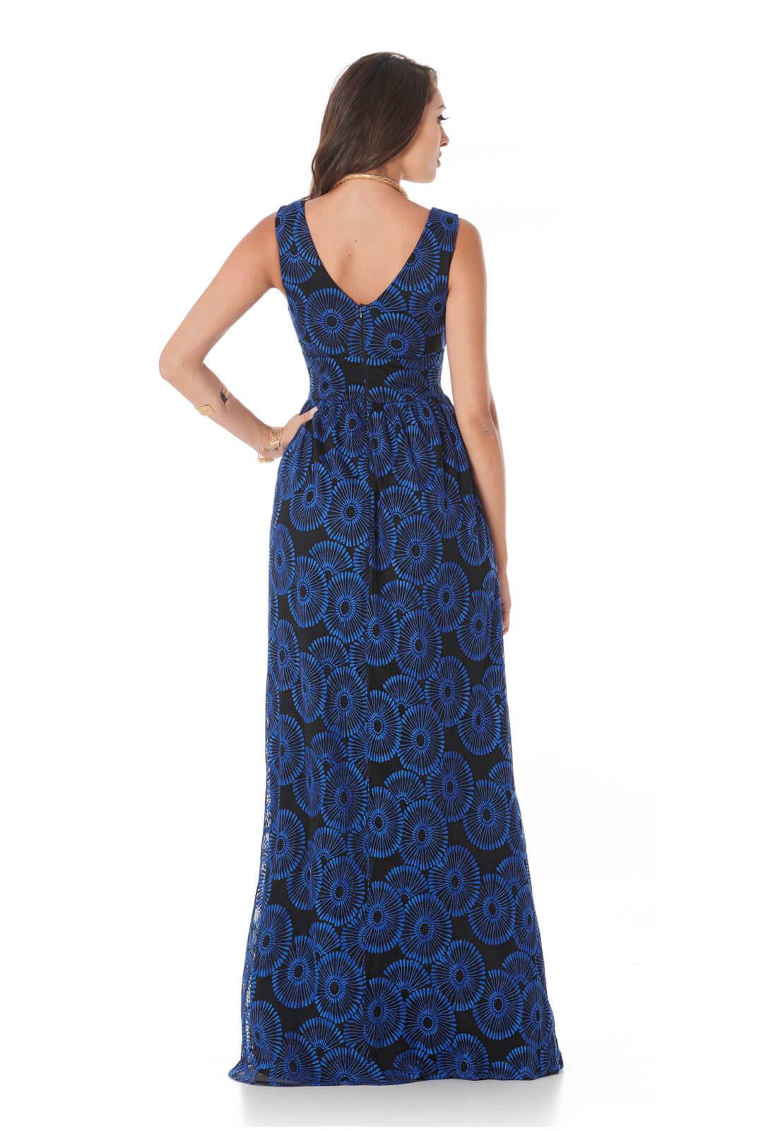 Vestido Renda Nouveau Azul
