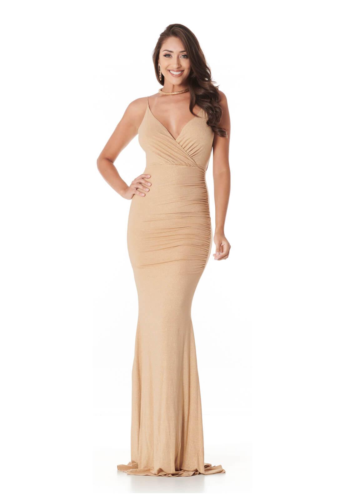 Vestido Sereia Lurex Dourado